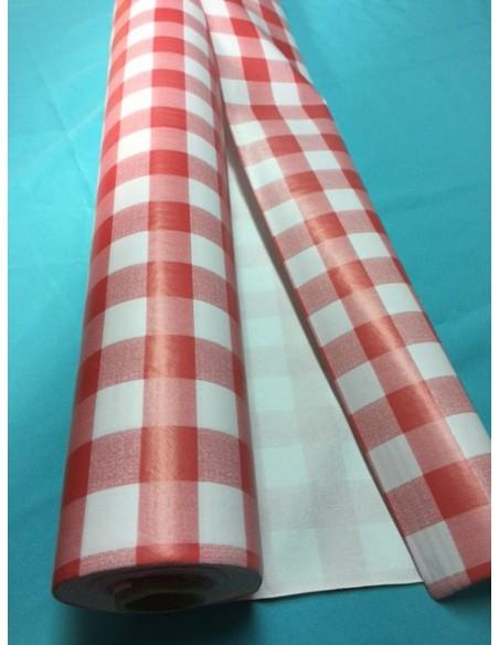 Nappe PVC vinyle carreaux vichy rouge