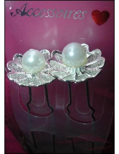 2 épingles mariée perle pics à cheveux chignon mariage