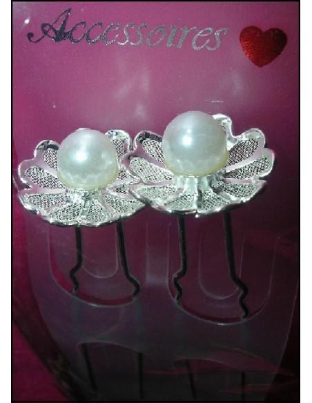 2 epingles mariee perle pics a cheveux chignon mariage