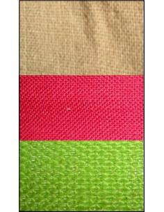 Toile de JUTE ficelle, rouge, vert anis 75x50 cm
