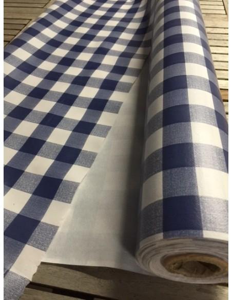 Nappe PVC vinyle carreaux vichy bleu
