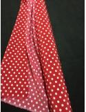 TISSUS polyester ROUGE imprimé à pois blanc 5 mm au metre largeur 148 cm